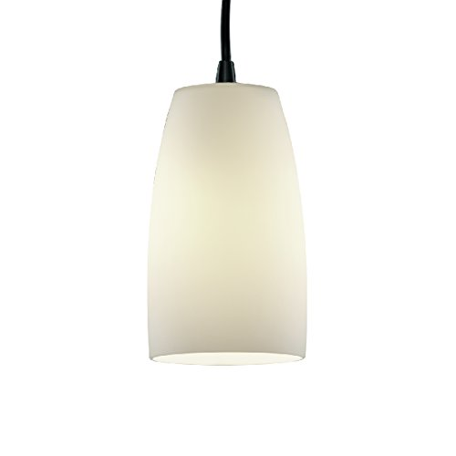 Tapered Cylinder Pendant - Justice Design Group Lighting FSN-8816-28-OPAL-DBRZ-BKCD Fusion-Small 1-Light Pendant-Tall Tapered Cylinder Shade Opal, Dark Bronze