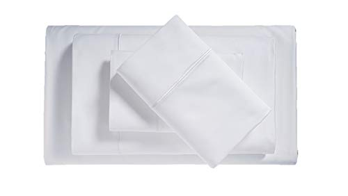 Egyptian Cotton Blend Bed Sheets - 1000 Thread Count Bedding Set with Sateen Weave and Deep Pocket Fitted Sheet - 4 Piece Luxury Bedding Sets for Dorm, Guest Room or Bedroom - QUEEN, WHITE ()
