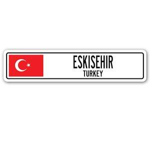 - ESKISEHIR, TURKEY Street Sign Sticker Decal Wall Window Door Turk flag city country road wall 8.25 x 2.0