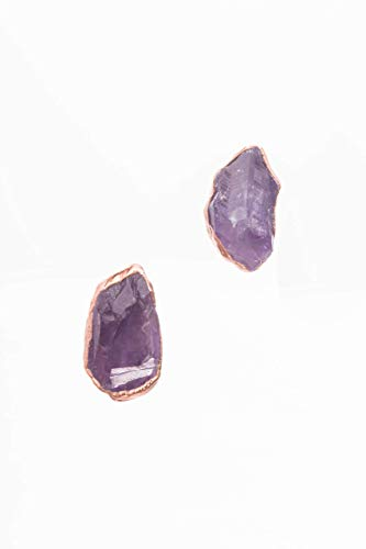 Large Raw Amethyst Stud Earrings, Rose Gold, February Birthstone