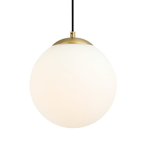 Light Society Zeno Globe Pendant, Matte White with Brass Finish, Contemporary Mid Century Modern Style Lighting Fixture (LS-C175-BRS-MLK) (Modern Lights Ball)