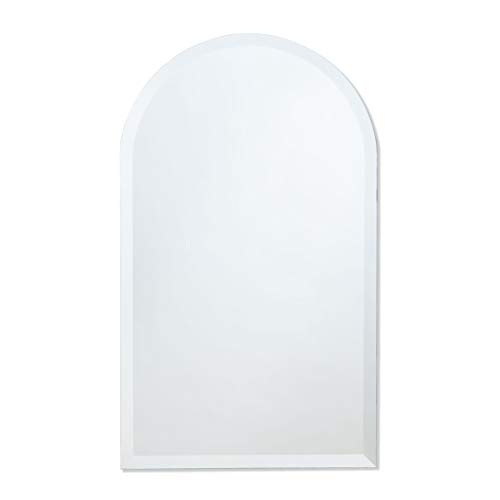 Frameless Beveled Wall Mirror | Arched Top Rectangle | Bathroom, Bedroom, Accent Mirror