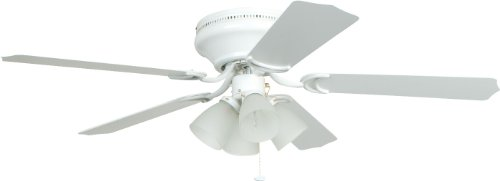 (Craftmade Flush Mount Ceiling Fan with Light BRC52WW5C Brilliante White 52 Inch Hugger)