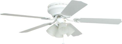 Blade 52 Ellington - Craftmade Flush Mount Ceiling Fan with Light BRC52WW5C Brilliante White 52 Inch Hugger