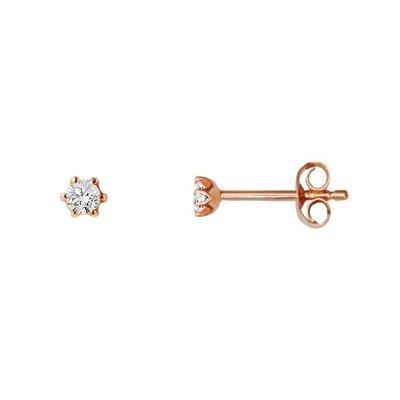 Boucles d'oreille-585or rouge-Diamant