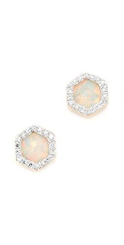 d Opal & Diamond Hexagon Post Earrings (Adina Reyter : Jewelry Earrings)