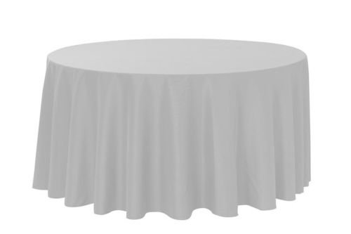 Perfectmaze 10pc Rectangle Round Tablecloths for Home, Wedding, Holidays; Birthday Party, Bridal / Baby Shower, or Restaurant Use (Round 120'', White) by Perfect Maze