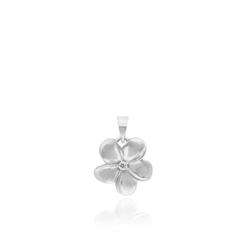 Plumeria Necklace Pendant with Diamond in 14K White Gold-11mm