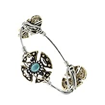 Celtic Cross, Gold Tone Metal Bangle w/ Teal Accent Beads - Materials: Metal - Length: Diameter: 2.5 Inch