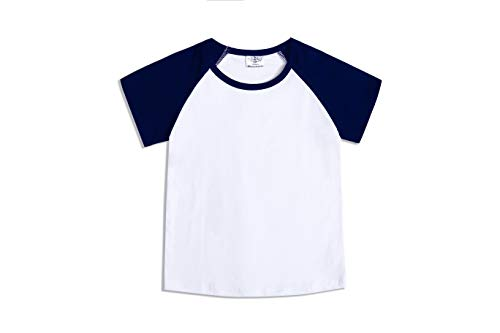 CloudCreator Toddler Baby Girls Boys Short Sleeve Shirts Raglan Shirt Baseball Tee Cotton T-Shirt (Navy, 4 Years)