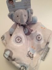 Blankets and Beyond Blue and Grey Elephant Baby Security Blanket Plush