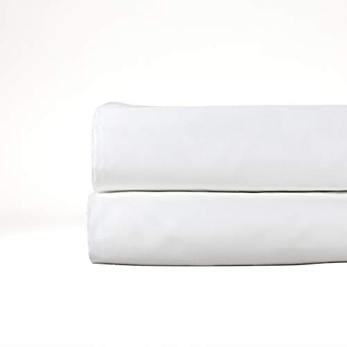 (THOMAS LEE 500 Thread-Count Percale, US-Grown Pima Cotton, Classic White, Flat Bed Sheet - Pure White King Flat Sheet for Bed)