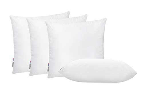 (Pal Fabric Pack of 4 Soft Microfiber White Square Pillow Insert for Sofa Form Cushion Sham or Decorative Pillow Made in USA (18x18))