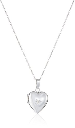 Childs Diamond Heart Locket (Children's 14k White Gold Heart Locket with Genuine Diamond Necklace, 15
