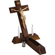 Roman 4 Piece Religous Classic Wooden Sick Call Crucifix Set 14''