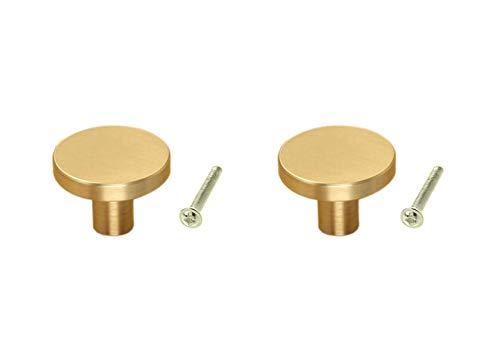 - Karcy 2pcs Soild Brass Minimalist Design Furniture Cabinet Knob Pull Hnadle & Screws Gold (Large)
