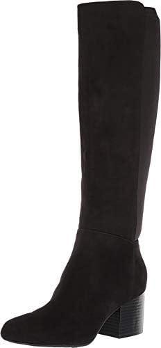 Aerosoles Condominum Black Stretch Suede Fitted Block Heel Knee High Boots (6.5)