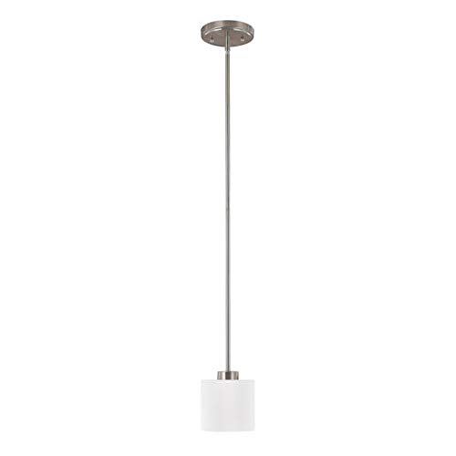 (Capital Lighting 4340BN-103 Steel 1-Light Mini-Pendant, Brushed Nickel Finish with Soft White Glass)
