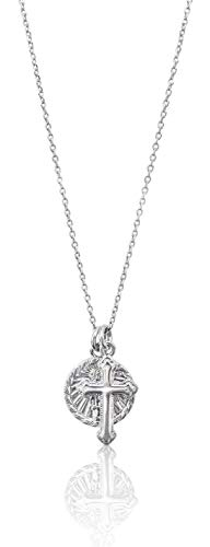 (Benevolence LA Cross Necklace with Coin - 14k White Gold Pendant Necklace Medal Disc Circle Dainty 18 inch Necklaces for Women Celebrity Endorsed (White Gold) )