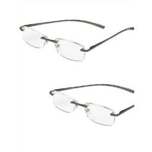 (2 PAIR) Foster Grant / Magnivision +3.00 ALUMINEYES Reading Glasses - Rimmless Lens with Lightweight Gunmetal Arms (01)