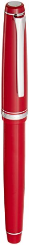 Pilot Falcon Collection Fountain Pen, Red with Rhodium Accents, Blue Ink, Soft Broad Nib (71623) (Red Resin Fountain Pen)