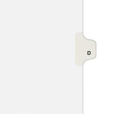 - Avery 01404 Exhibit Side Tab Divider, Printed: D, Letter Size, White, 25/Pack