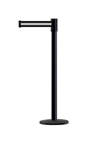 Tensabarrier - 890B-33-33-33-STD-NO-S3X-C - black post, 2'' wide, 7'6'' length Stripe Black & White belt by Tensabarrier