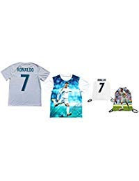 Sport Fans Edge Ronaldo Jersey Style T-Shirt Kids Cristiano Ronaldo Jersey Picture T-Shirt Gift Set Youth Sizes ? Premium Quality ? ? Soccer Backpack Gift Packaging (YL 10-13 Years Old, Ronaldo)