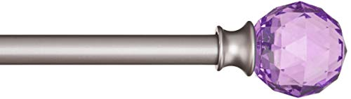 AmazonBasics Decorative 5/8 Curtain Rod with Faceted Ball Finials, 48-86, Purple