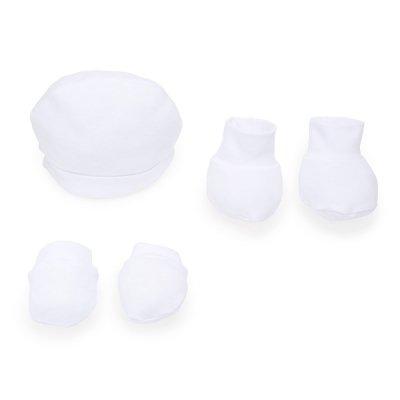 Conjunto de Gorro, manoplas y patucos para bebé - Blanco - Talla 3-6 meses - 100% algodón