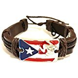 Boricua, Puerto Rico flag style wristband, Puerto Rican fashion bracelet leather tie up style