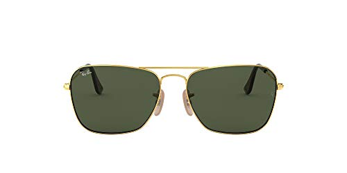 Ray-Ban RB3136 Caravan Square Sunglasses, Gold/Green, 55 mm (Ray Ban Square Aviator Sonnenbrillen)