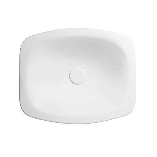 """19"""" Cameo Oval Ceramic Drop-in Vessel with out Overflow in White"""
