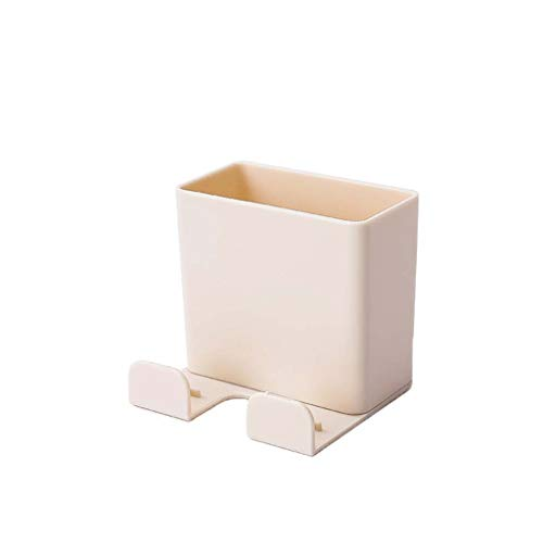 Onegirl Home Wall Hanging Remote Controller Mobile Phone Bracket Holder Base Storage Box No Hole Switch Decorative Box 6.5 x 6 x 6cm (Beige)