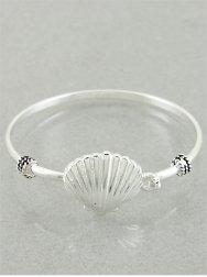 Designer Inspired Shell Bracelet | - Cuff / Hinge / Bangle | - Metal Works | 2.25 Inch | Antique Silver | SEA Life