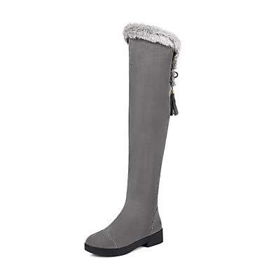 NVXUEZIX Femme Chaussures Flocage Automne Hiver Confort Bottes Bout Rond Fermeture Lacet pour Noir Gris, us9 / eu40 / uk7 / cn41
