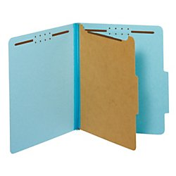 Globe-Weis/Pendaflex Colored Classification Folders, 2/5 Cut Tab, 1 Divider, 2-Inch Embedded Fasteners, Letter Size, Blue, 10 Folders Per Box (23730)