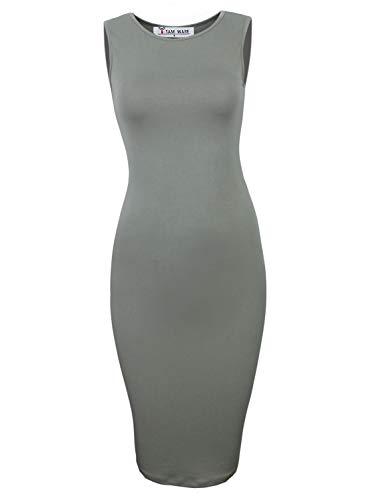 TAM WARE Women's Classic Slim Fit Sleeveless Midi Dress TWCWD051-KHAKI-US M/L(Tag Size L) from TAM WARE