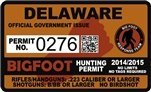 "Delaware Bigfoot Hunting Permit 2.4"" x 4"" Decal Sticker"