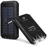External Battery Pack,FLOUREON 10,000mAh Solar Power Bank Waterproof Solar Phone Charger with Dual USB 1.0A/2.0A Max Waterproof Portable Cell Phone Power Bank (Black)…