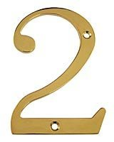 Deltana RN6-2 Solid Brass 6-Inch House Number 2 Board (6 Inch Solid Brass Number)