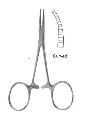 Baby Mosquito Hemostatic Locking Forcep Curved Serrated, 4