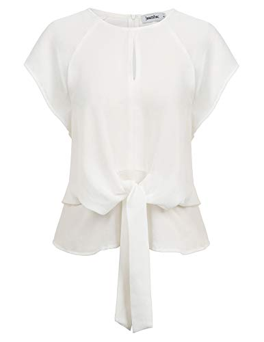 Jasambac Batwing Tops for Women Loose Ruffled Tie Knot Front Shirt Size M Color White ()