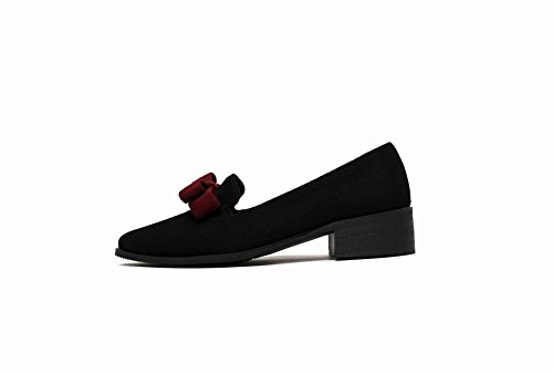 Color Carolbar Shoes Mid Women's Black Charm Court Heel Bow Solid tCnt1rxwqc