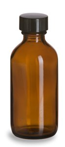 Boston Amber Round Glass Bottle with Cap, 2 oz Capacity Pack of 24