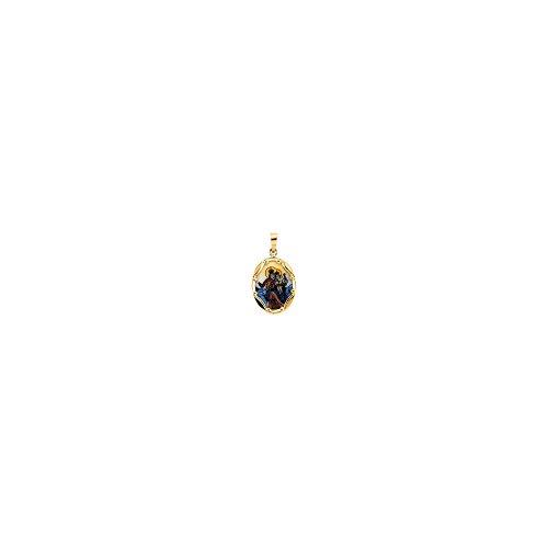 14K Yellow Gold 17x13.5mm Porcelain Scapular Pendant
