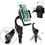 TENETECH Universal Car Mount Holder Dual USB Port Cigarette Lighter Socket Car Charger Mount Holder for Cell Phone Smartphones