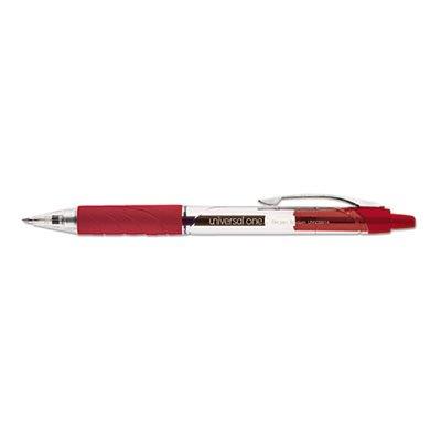 Clear Barrel Roller Ball Retractable Gel Pen, Red Ink, Medium, Dozen, Sold as 12 Each - Clear Barrel Red Ink