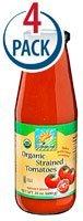 Bionaturae Organic Strained Tomatoes -- 24 fl oz Each / Pack of 4 ()