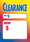 D30CLE ''Clearance Sale Was Now'' Unstrung Drill Sale Tags (No Strings) Small Price Cards - 3 1/2'' x 5'' (100 Pack) Furniture, Flooring, Business Store Signs